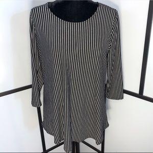 Pinstripe Blouse 3/4 Sleeves